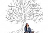 Drawing Of A Girl Under A Tree Beautiful Woman Sitting Under Sketch Of Tree Zdja Cie Stockowe