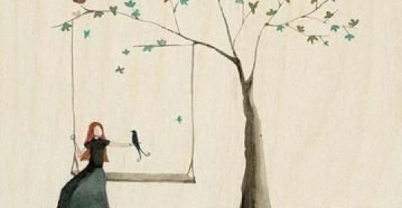 Drawing Of A Girl Under A Tree Minimalist Picture Girl On Swing Under Tree Painting