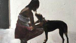Drawing Of A Girl Walking A Dog Woman Walking Dog Painting Woman Walking Dog Art Print Art Print
