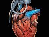 Drawing Of A Heart In 3d Displate Poster Heart Grenade Heart Grenade Love War Carbine