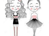 Drawing Of A Little Girl Cartoon Vector Cute Little Girls Fashion Kids Stock Vector Illustration