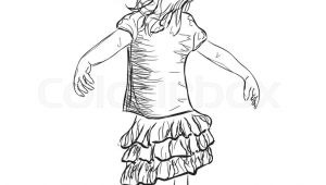 Drawing Of A Little Girl Standing Small Girl In A Dress Baby Standing Stock Vector Colourbox