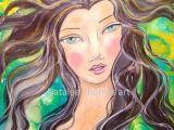 Drawing Of A Mixed Girl Drawing and Painting Whimsical Mermaid Mixed Media Mixed Media