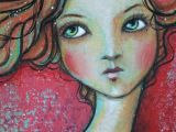 Drawing Of A Mixed Girl original Ooak 4 X 6 Mixed Media Acrylic Colored Pencil Flow A