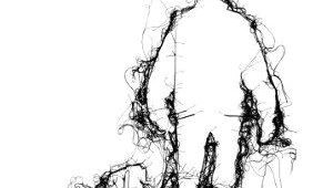 Drawing Of A Person Walking A Dog Adrienne Wood Thread Drawing Man Walking Dog In Black Thread On