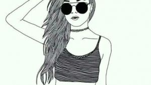 Drawing Of A Thin Girl Girl Croptop Choker Sunglasses Drawing Art Draw Pinterest