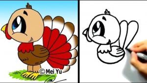 Drawing Of A Turkey Great for Thanksgiving Cute Lil Turkey Mei Yu Fun 2 Draw Youtube