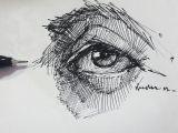 Drawing Of An Eye In Pen Eyedrawing Illustration Portre Dessin Pen Artsy Study Portrait