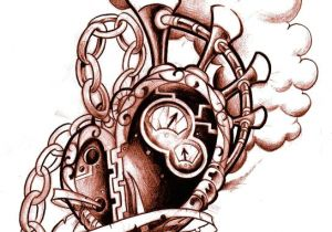 Drawing Of Artificial Heart Commission for Chris Clock with Lettering Flowers and A Brass