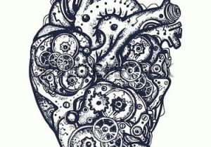 Drawing Of Artificial Heart Vind Mechanical Heart Tattoo Symbol Of Emotions Love Feeling