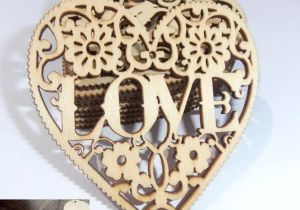 Drawing Of Artificial Heart Wood Perforated Diy Accessories Love by Heart the original Wood