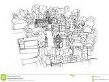 Drawing Of Birds Eye View Dubrovnik Croatia Stock Vector Illustration Of View 92442228