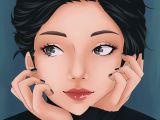 Drawing Of Black Eye Anime Manga Portrait Girl Cute Drawing Black Eyes Hair