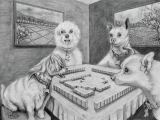 Drawing Of Dog Playing Dogs Playing Mahjong Drawing by Cyril Maza Mahjong Dogs Pets Play