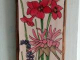 Drawing Of Flowers In the Garden Pink Flower Watercolor Illustration On Wood Drawing Botanical Garden