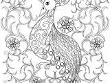 Drawing Of Flowers with Birds Royalty Free Coloring Page with Bird In Flowers 328791746 Stock