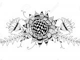 Drawing Of Flowers with Leaves Doodle Bouquet Od Flowers and Leaves On White Background Template