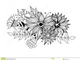 Drawing Of Flowers with Leaves Doodle Bouquet Od Flowers and Leaves Stock Illustration