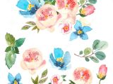 Drawing Of Flowers with Leaves Watercolor Floral Set Colorful Floral Collection with Leaves and