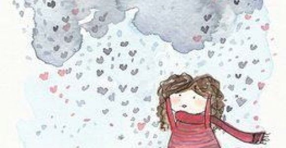 Drawing Of Girl and Boy In Rain Carola Vergara Rain Illustration Boy Illustration Drawings