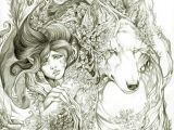 Drawing Of Girl and Wolf Just In Loved Wolf Girl Fantasy Conceptart Tattoo Sesign