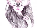 Drawing Of Girl and Wolf Tattoo Drawings Art Art Drawings