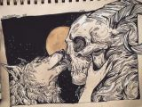 Drawing Of Girl and Wolf Wolfskulljack Wolf Girl and Skull Boy something for the