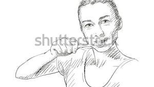 Drawing Of Girl Brushing Teeth Yooung Woman Brushing Her Teeth Vector Sketch Hand Drawn