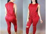 Drawing Of Girl In Overalls Sleeveless Draw String Split Knee Long Slim Jumpsuit Special