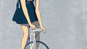 Drawing Of Girl On Bike Girl On Bike by Conjunto Universo Bikingillustration Motorcycle