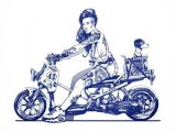 Drawing Of Girl On Motorcycle Bagger Ruckus by Dennis Brown Via Behance Comics Honda Honda