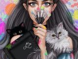 Drawing Of Girl On Phone Pin by Sabila Zalianty On All Photo Drawings Art Girly M