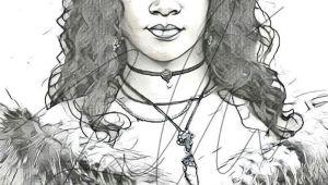 Drawing Of Girl Singing Rihanna Drawing Sketch Print Wall Art Illustration Singer Riri Hand