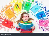 Drawing Of Girl Studying Little Girl School Supplies Books Drawing Stock Photo Edit now