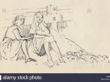 Drawing Of Girl Studying Women On the Beach south Coast Of England C1950 Shirley Markham