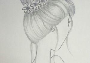 Drawing Of Girl with Bun Draw Hair Bun Hairstyle with Flowers Draw In 2019 Drawings