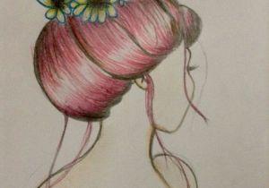 Drawing Of Girl with Bun Hair Bun and Flower Drawing by Me Hair Bun Hairbun topknot