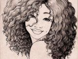 Drawing Of Girl with Curly Hair Pin by Alesia Leach On Black and White Sketches Art Drawings