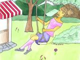 Drawing Of Little Girl On Swing Swinging Girl Drawing Water Color Illustration Print On A5 Paper