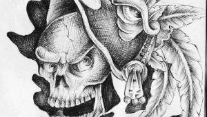 Drawing Of Skull Tattoo Aztec Drawings Aztec Skull 2 by Pick1 On Deviantart Drawings