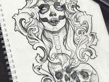 Drawing Of Skull with Flowers Muertos Skull Tattoo Design Ravens Grunge Roses Boho Fantasy Gothic