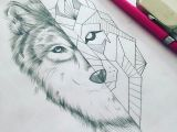 Drawing Of Wolf Face but Feminine Wolf Instead Of Geometric Intricate Modern Day Tattoo