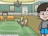Drawing Room Cartoon Images A Happy Young Boy and A Castle Drawing Room Background Clipart