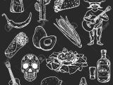 Drawing Skull Mexican Icons Of Mexican Food and Culture Hand Drawn Images Royalty Free