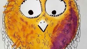 Drawing with orange Eyes Logo Happy Bird Galerie Kunterbunte Happy Birds Nach Owls Painting