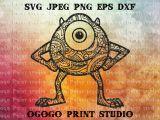 Drawing with orange Eyes Logo Mandala Stil Mike Svg Monsters Inc Svg Zentangle Svg Doodle Etsy