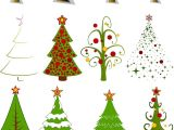 Drawing Xmas Decorations 2 Sets Of 20 Vector Cartoon Christmas Tree Designs In Different
