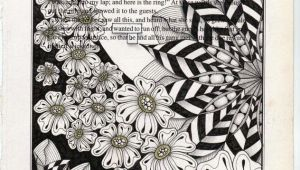 Drawing Zentangle Flowers Zentangle Drawings On Recycled Vintage Book Pages Zentangle