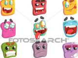 Drawings Easy Emoji Clipart Of Square Face Colorful Emoji Set K54372280 Search Clip