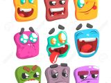 Drawings Easy Emoji Square Face Colorful Emoji Set Od isolated Icons On White Background